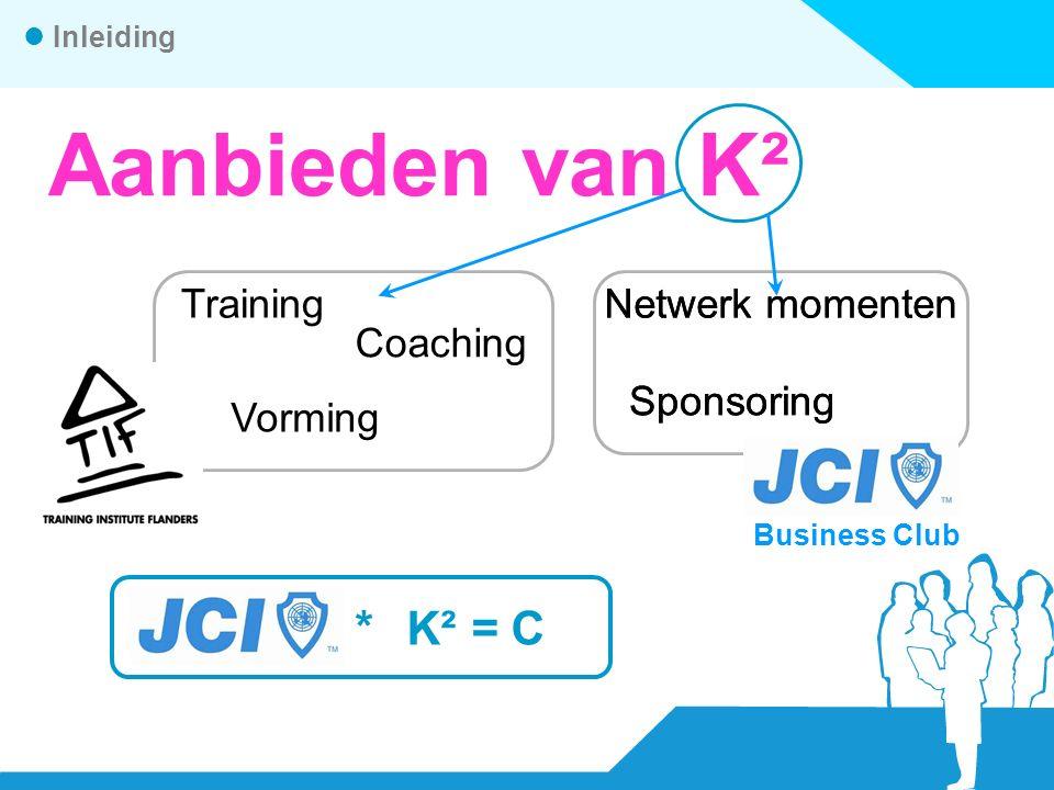 *K² =C Aanbieden van K² Training Vorming Coaching Inleiding Business Club Netwerk momenten Sponsoring Business Club Netwerk momenten Sponsoring