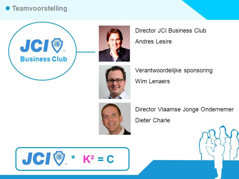 *K² =C Teamvoorstelling Business Club Director JCI Business Club Andres Lesire Verantwoordelijke sponsoring Wim Lenaers Director Vlaamse Jonge Ondernemer Dieter Charle
