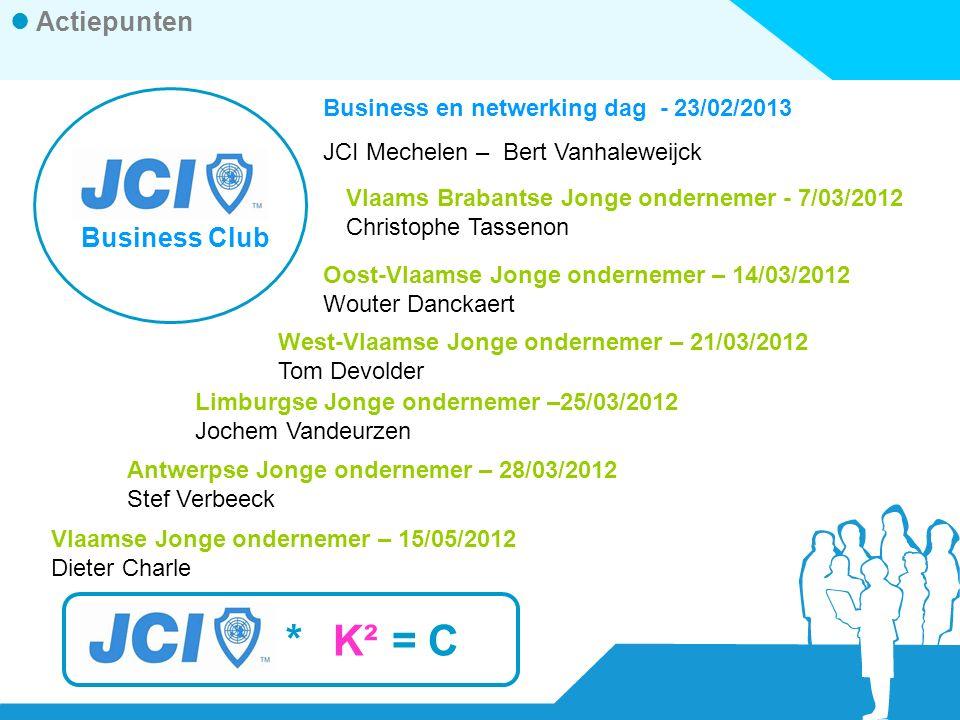 *K² =C Actiepunten Business Club Business en netwerking dag - 23/02/2013 JCI Mechelen – Bert Vanhaleweijck Vlaams Brabantse Jonge ondernemer - 7/03/2012 Christophe Tassenon Oost-Vlaamse Jonge ondernemer – 14/03/2012 Wouter Danckaert West-Vlaamse Jonge ondernemer – 21/03/2012 Tom Devolder Limburgse Jonge ondernemer –25/03/2012 Jochem Vandeurzen Antwerpse Jonge ondernemer – 28/03/2012 Stef Verbeeck Vlaamse Jonge ondernemer – 15/05/2012 Dieter Charle