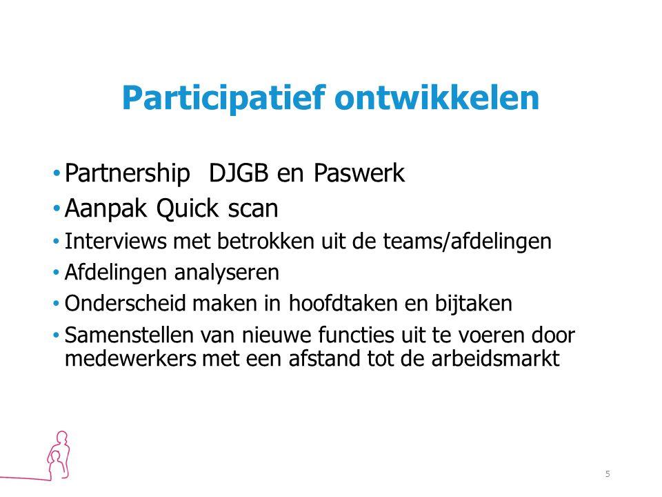 Participatief ontwikkelen Partnership DJGB en Paswerk Aanpak Quick scan Interviews met betrokken uit de teams/afdelingen Afdelingen analyseren Onderscheid maken in hoofdtaken en bijtaken Samenstellen van nieuwe functies uit te voeren door medewerkers met een afstand tot de arbeidsmarkt 5