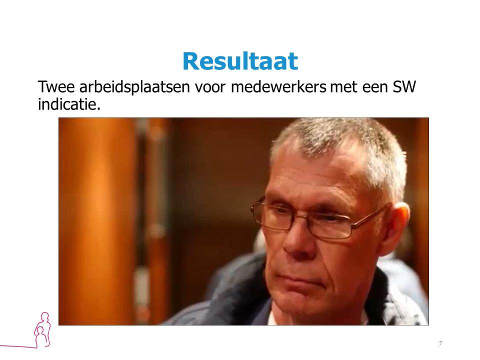 Resultaat Twee arbeidsplaatsen voor medewerkers met een SW indicatie. 7
