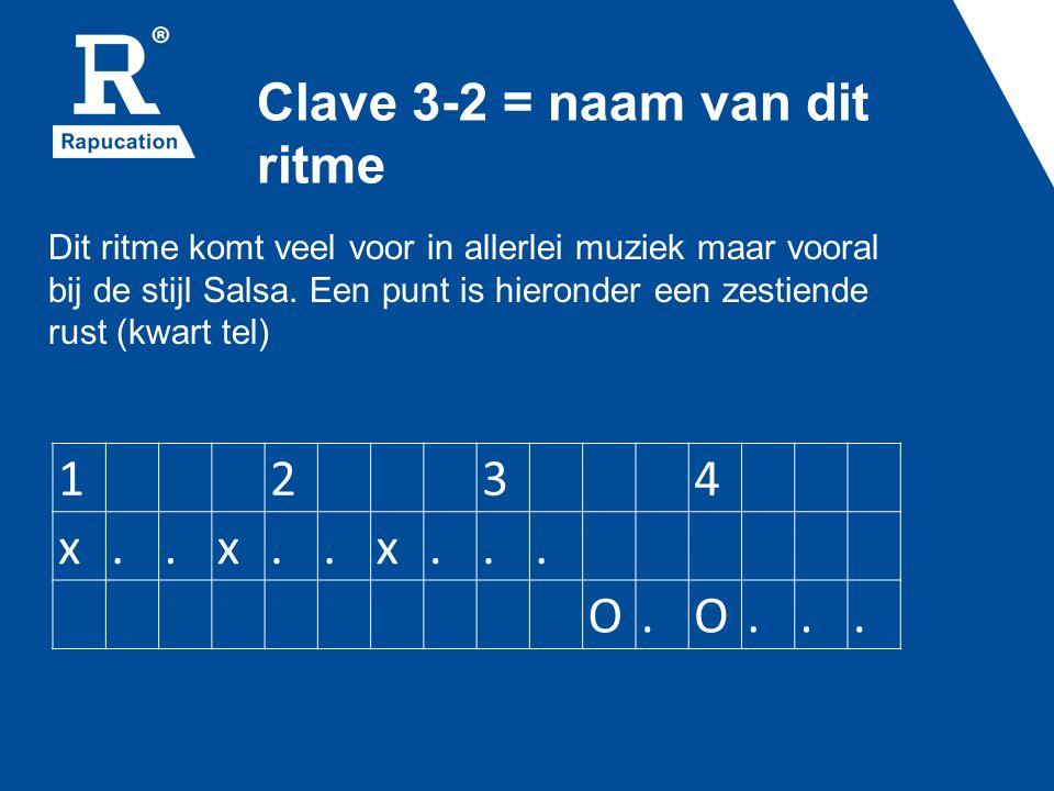 Clave 3-2 = naam van dit ritme 1234 x..x..x... O.O...