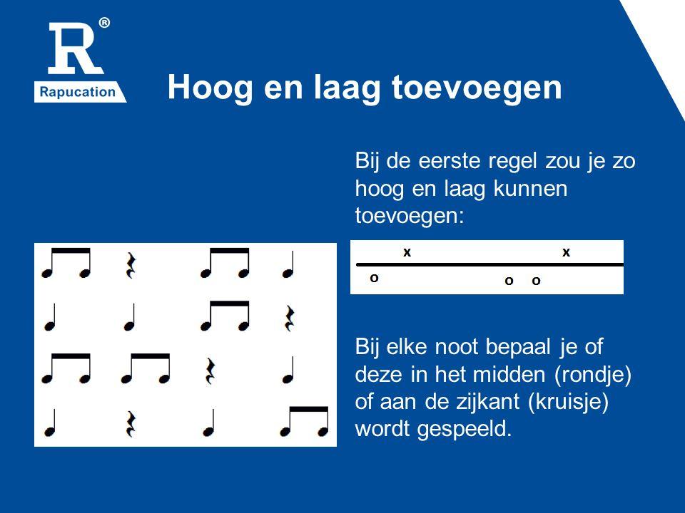 Hoog en laag toevoegen Bij de eerste regel zou je zo hoog en laag kunnen toevoegen: Bij elke noot bepaal je of deze in het midden (rondje) of aan de zijkant (kruisje) wordt gespeeld.