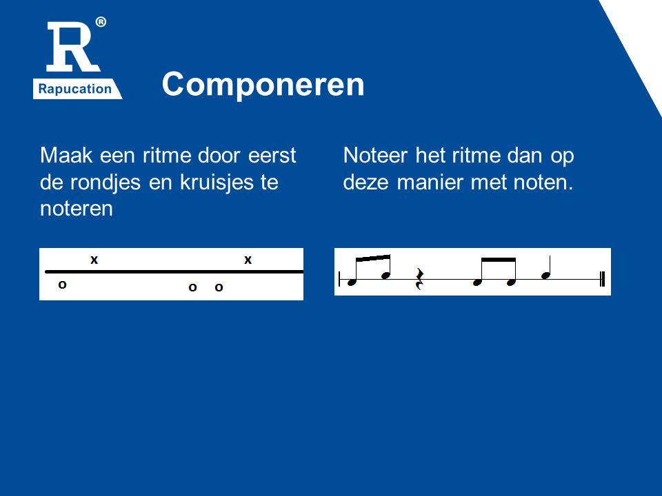 Componeren Maak een ritme door eerst de rondjes en kruisjes te noteren Noteer het ritme dan op deze manier met noten.