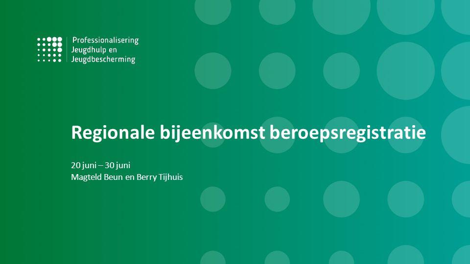 Regionale bijeenkomst beroepsregistratie 20 juni – 30 juni Magteld Beun en Berry Tijhuis