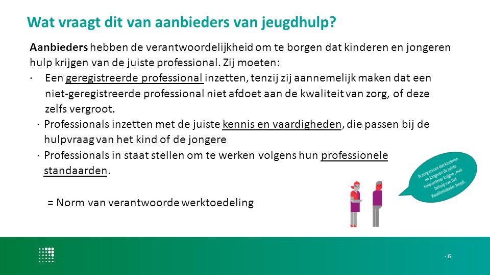 Aanbieders hebben de verantwoordelijkheid om te borgen dat kinderen en jongeren hulp krijgen van de juiste professional.