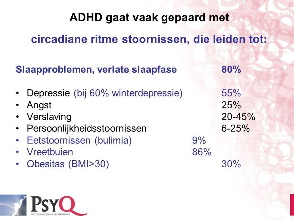 ADHD gaat vaak gepaard met circadiane ritme stoornissen, die leiden tot: Slaapproblemen, verlate slaapfase80% Depressie (bij 60% winterdepressie)55% A