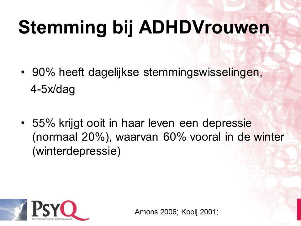 Stemming bij ADHDVrouwen 90% heeft dagelijkse stemmingswisselingen, 4-5x/dag 55% krijgt ooit in haar leven een depressie (normaal 20%), waarvan 60% vo