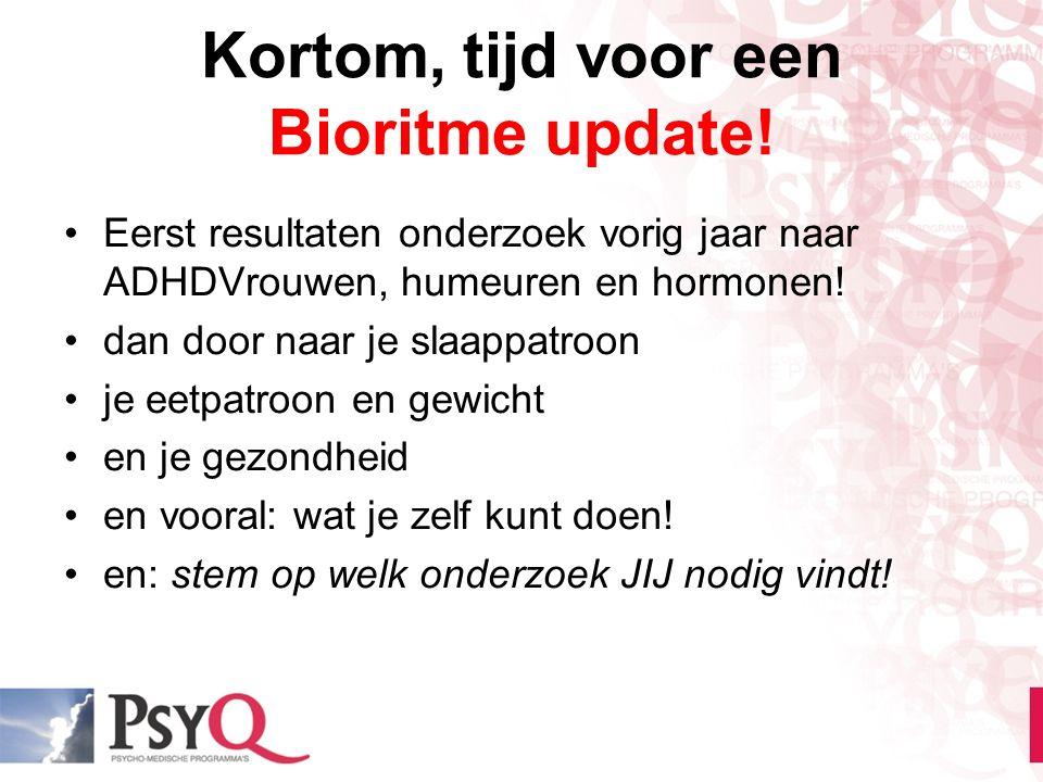 Kortom, tijd voor een Bioritme update! Eerst resultaten onderzoek vorig jaar naar ADHDVrouwen, humeuren en hormonen! dan door naar je slaappatroon je