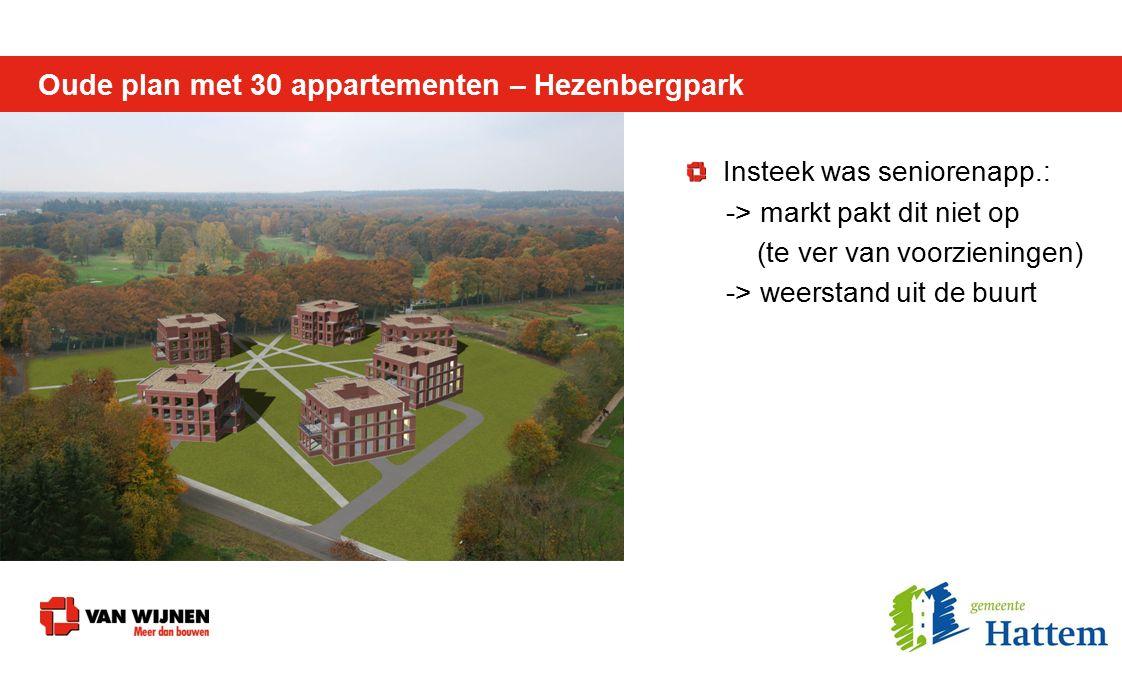 Oude plan met 30 appartementen – Hezenbergpark X Raad van State: -> Max.