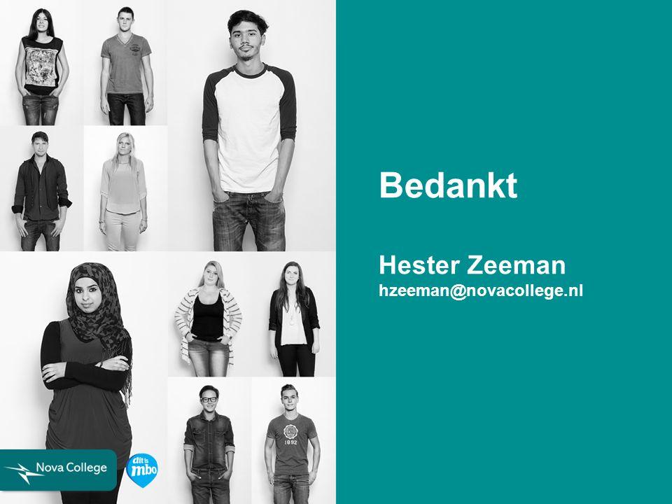 Bedankt Hester Zeeman hzeeman@novacollege.nl