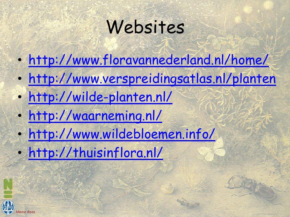 Marco Roos Websites http://www.floravannederland.nl/home/ http://www.verspreidingsatlas.nl/planten http://wilde-planten.nl/ http://waarneming.nl/ http://www.wildebloemen.info/ http://thuisinflora.nl/