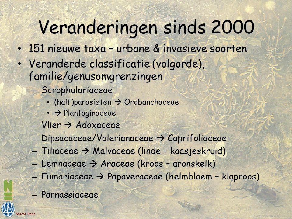 Marco Roos 151 nieuwe taxa – urbane & invasieve soorten 151 nieuwe taxa – urbane & invasieve soorten Veranderde classificatie (volgorde), familie/genu