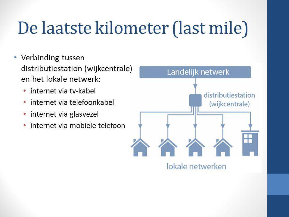 De laatste kilometer (last mile) Verbinding tussen distributiestation (wijkcentrale) en het lokale netwerk: internet via tv-kabel internet via telefoonkabel internet via glasvezel internet via mobiele telefoon