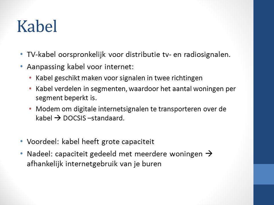 Kabel TV-kabel oorspronkelijk voor distributie tv- en radiosignalen. Aanpassing kabel voor internet: Kabel geschikt maken voor signalen in twee richti