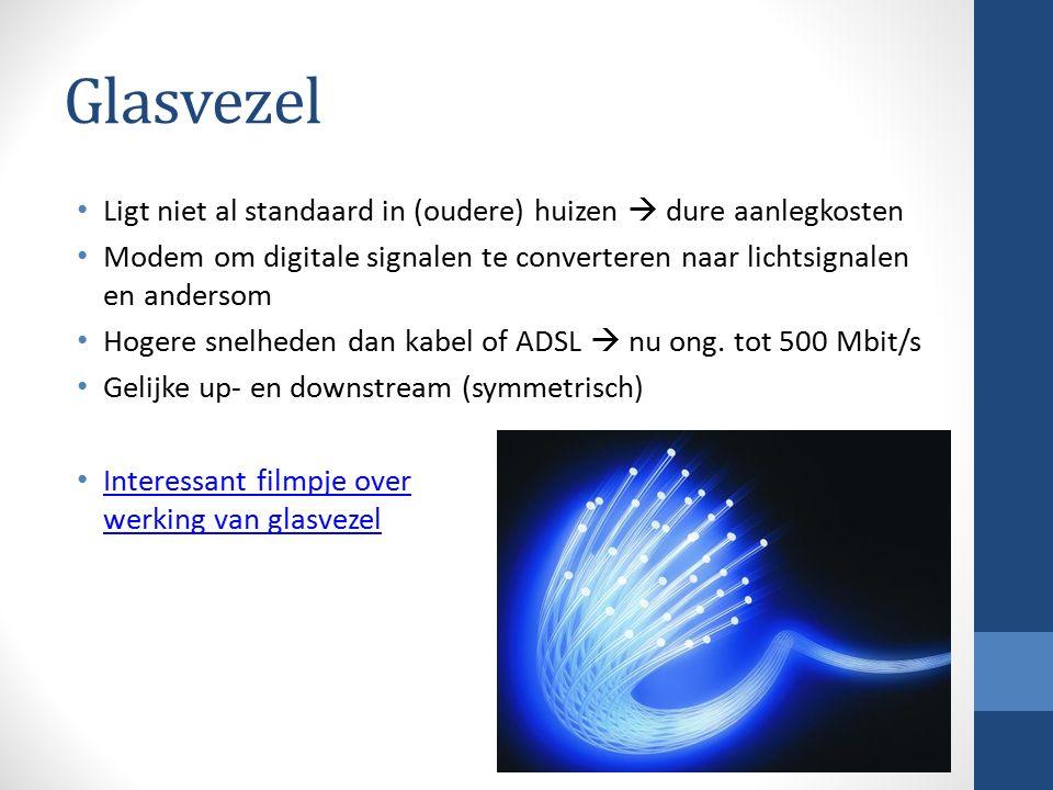 Glasvezel Ligt niet al standaard in (oudere) huizen  dure aanlegkosten Modem om digitale signalen te converteren naar lichtsignalen en andersom Hogere snelheden dan kabel of ADSL  nu ong.