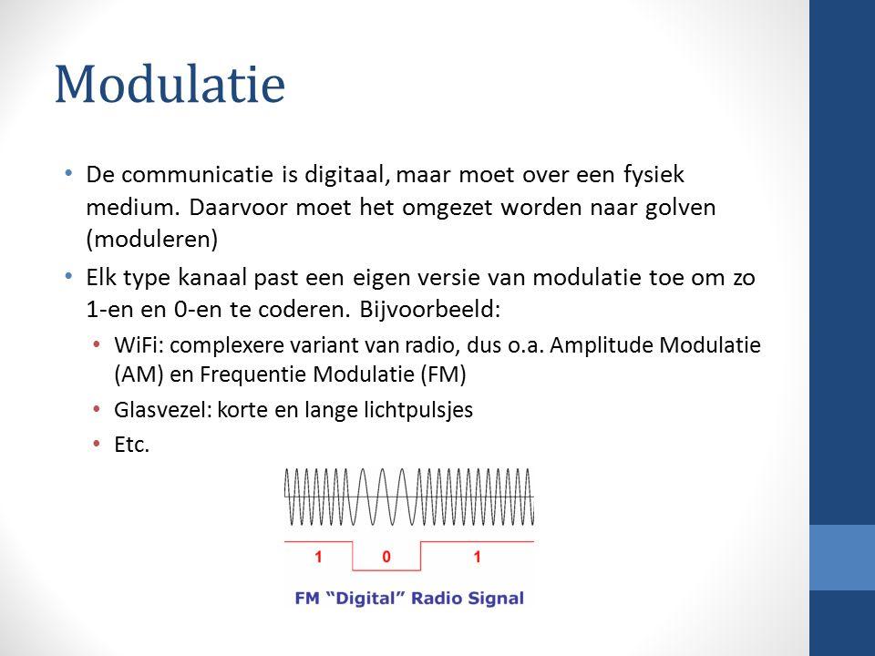 Modulatie De communicatie is digitaal, maar moet over een fysiek medium. Daarvoor moet het omgezet worden naar golven (moduleren) Elk type kanaal past