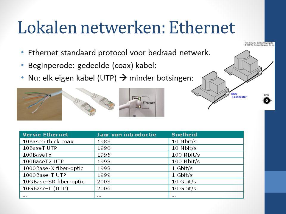 Lokalen netwerken: Ethernet Ethernet standaard protocol voor bedraad netwerk. Beginperode: gedeelde (coax) kabel: Nu: elk eigen kabel (UTP)  minder b