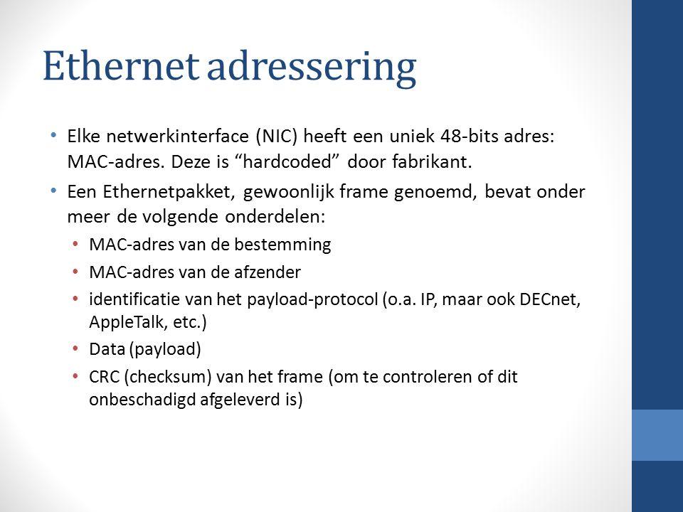"""Ethernet adressering Elke netwerkinterface (NIC) heeft een uniek 48-bits adres: MAC-adres. Deze is """"hardcoded"""" door fabrikant. Een Ethernetpakket, gew"""