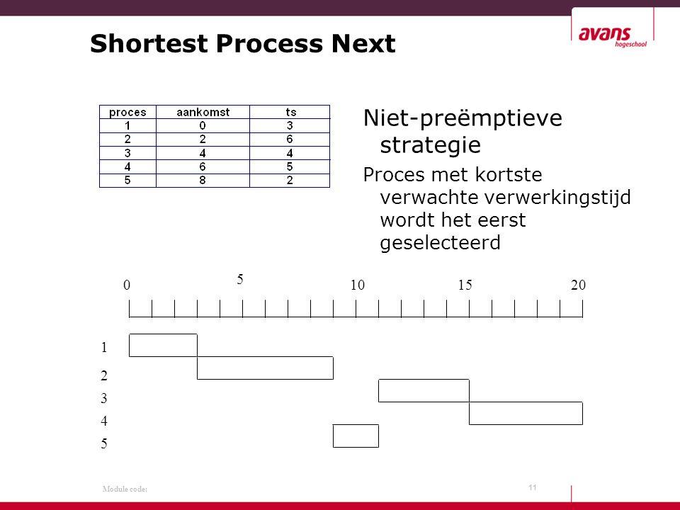 Module code: Shortest Process Next Niet-preëmptieve strategie Proces met kortste verwachte verwerkingstijd wordt het eerst geselecteerd 11 0 5 101520 1 2 3 4 5