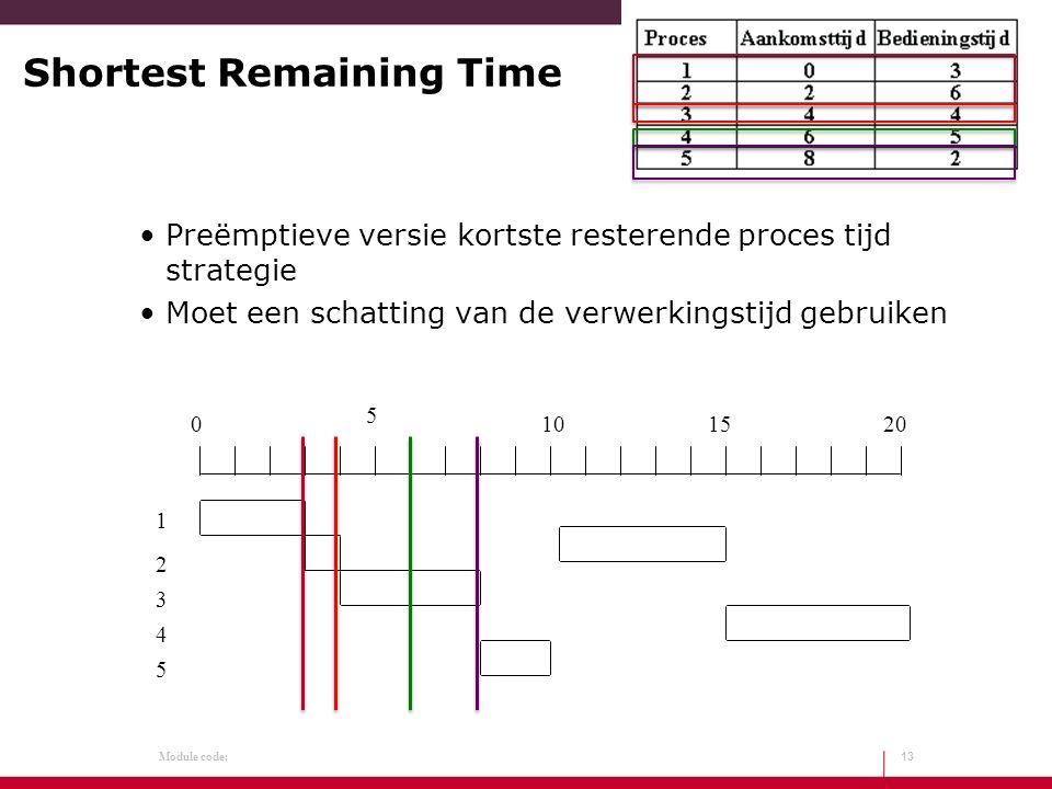 Module code: Shortest Remaining Time Preëmptieve versie kortste resterende proces tijd strategie Moet een schatting van de verwerkingstijd gebruiken 1