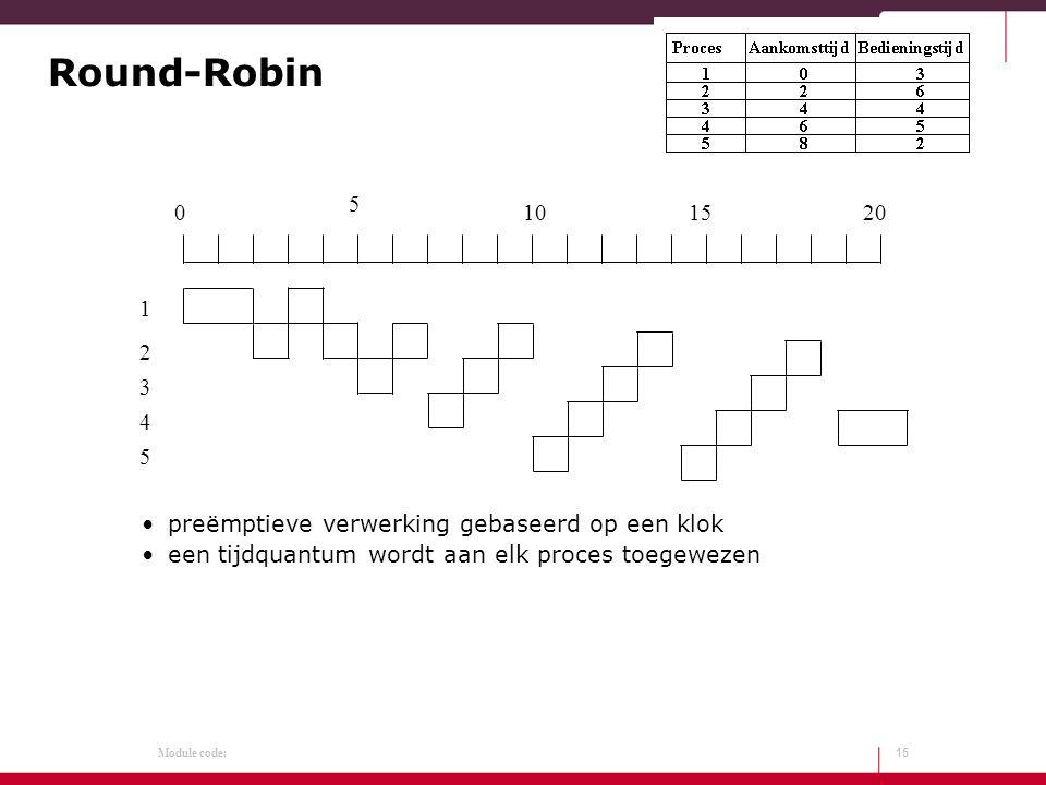 Module code: Round-Robin preëmptieve verwerking gebaseerd op een klok een tijdquantum wordt aan elk proces toegewezen 15 0 5 101520 1 2 3 4 5