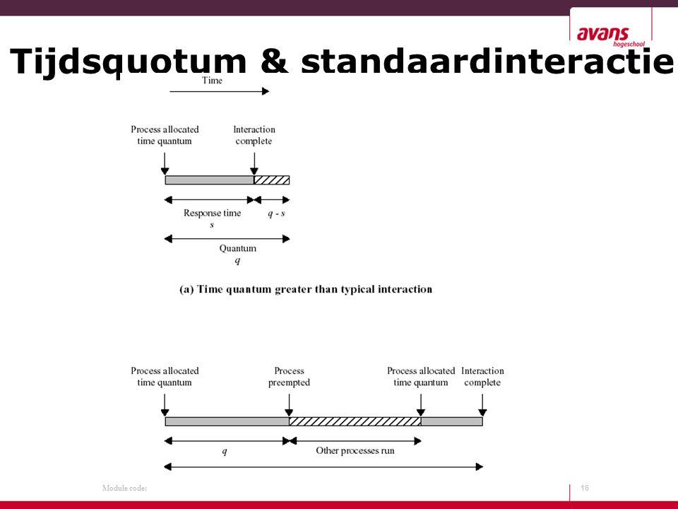 Module code: Tijdsquotum & standaardinteractie 16