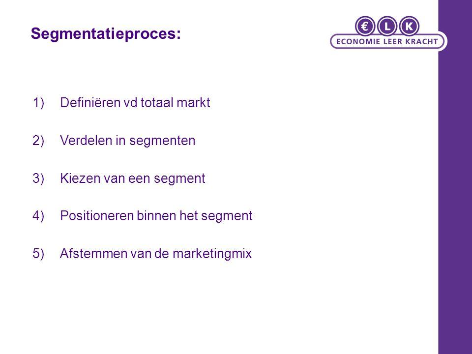 Segmentatieproces: 1)Definiëren vd totaal markt 2)Verdelen in segmenten 3)Kiezen van een segment 4)Positioneren binnen het segment 5)Afstemmen van de