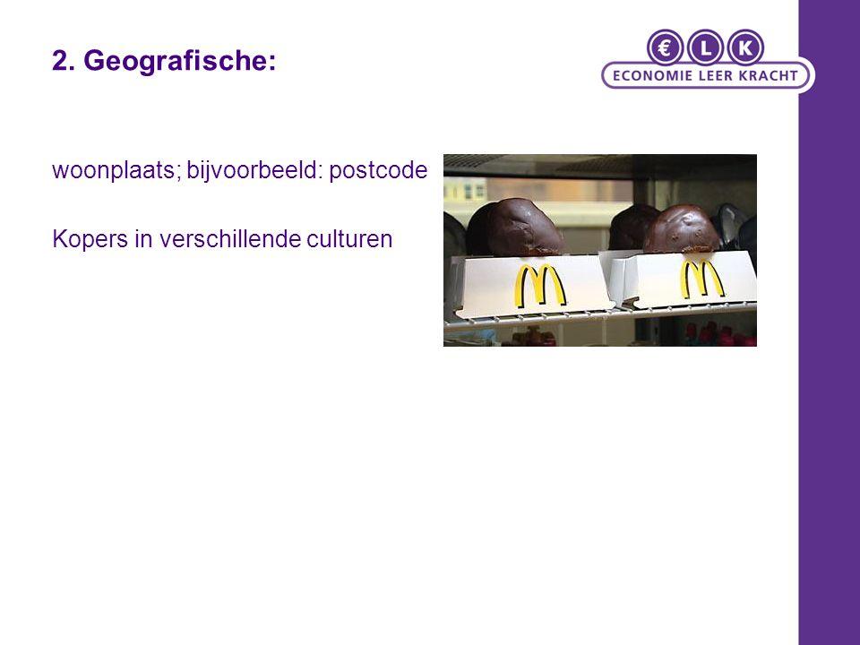2. Geografische: woonplaats; bijvoorbeeld: postcode Kopers in verschillende culturen