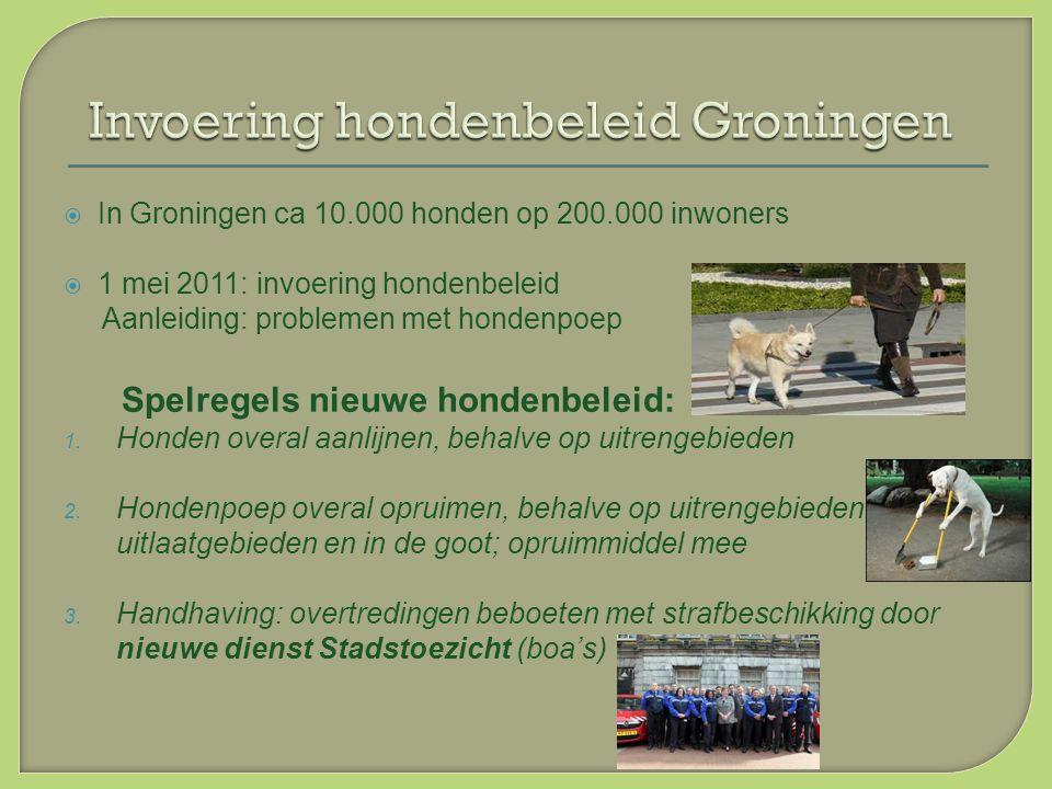  In Groningen ca 10.000 honden op 200.000 inwoners  1 mei 2011: invoering hondenbeleid Aanleiding: problemen met hondenpoep Spelregels nieuwe hondenbeleid: 1.