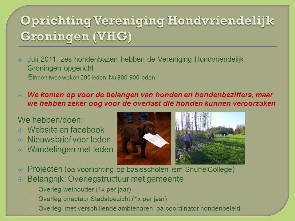  Juli 2011: zes hondenbazen hebben de Vereniging Hondvriendelijk Groningen opgericht B innen twee weken 300 leden.
