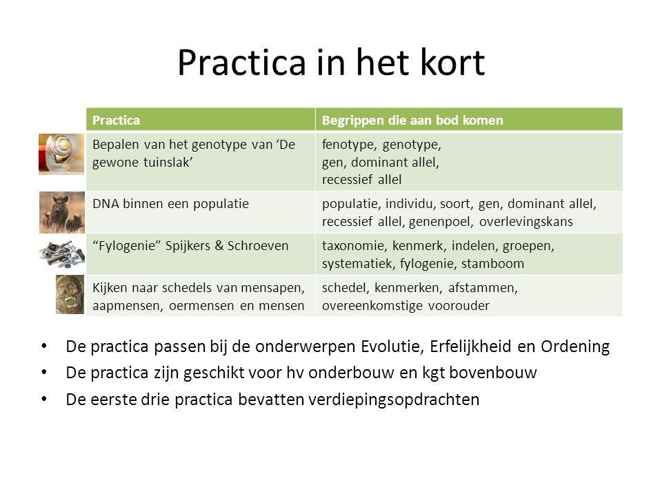 Practica in het kort De practica passen bij de onderwerpen Evolutie, Erfelijkheid en Ordening De practica zijn geschikt voor hv onderbouw en kgt boven