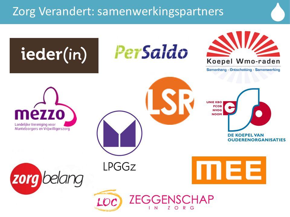Titelbalk Zorg Verandert: samenwerkingspartners