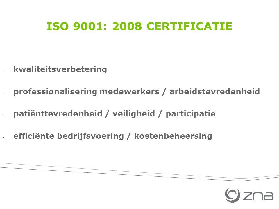 ISO 9001: 2008 CERTIFICATIE - kwaliteitsverbetering - professionalisering medewerkers / arbeidstevredenheid - patiënttevredenheid / veiligheid / participatie - efficiënte bedrijfsvoering / kostenbeheersing