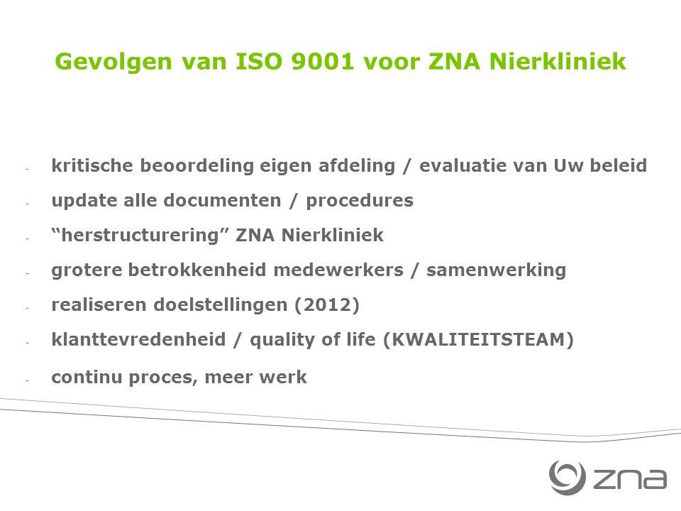 Gevolgen van ISO 9001 voor ZNA Nierkliniek - kritische beoordeling eigen afdeling / evaluatie van Uw beleid - update alle documenten / procedures - herstructurering ZNA Nierkliniek - grotere betrokkenheid medewerkers / samenwerking - realiseren doelstellingen (2012) - klanttevredenheid / quality of life (KWALITEITSTEAM) - continu proces, meer werk