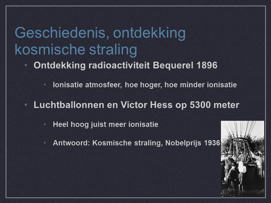 Geschiedenis, ontdekking kosmische straling Ontdekking radioactiviteit Bequerel 1896 Ionisatie atmosfeer, hoe hoger, hoe minder ionisatie Luchtballonnen en Victor Hess op 5300 meter Heel hoog juist meer ionisatie Antwoord: Kosmische straling, Nobelprijs 1936