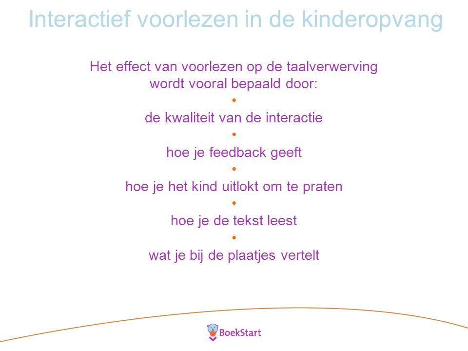 Interactief voorlezen in de kinderopvang Het effect van voorlezen op de taalverwerving wordt vooral bepaald door: de kwaliteit van de interactie hoe je feedback geeft hoe je het kind uitlokt om te praten hoe je de tekst leest wat je bij de plaatjes vertelt