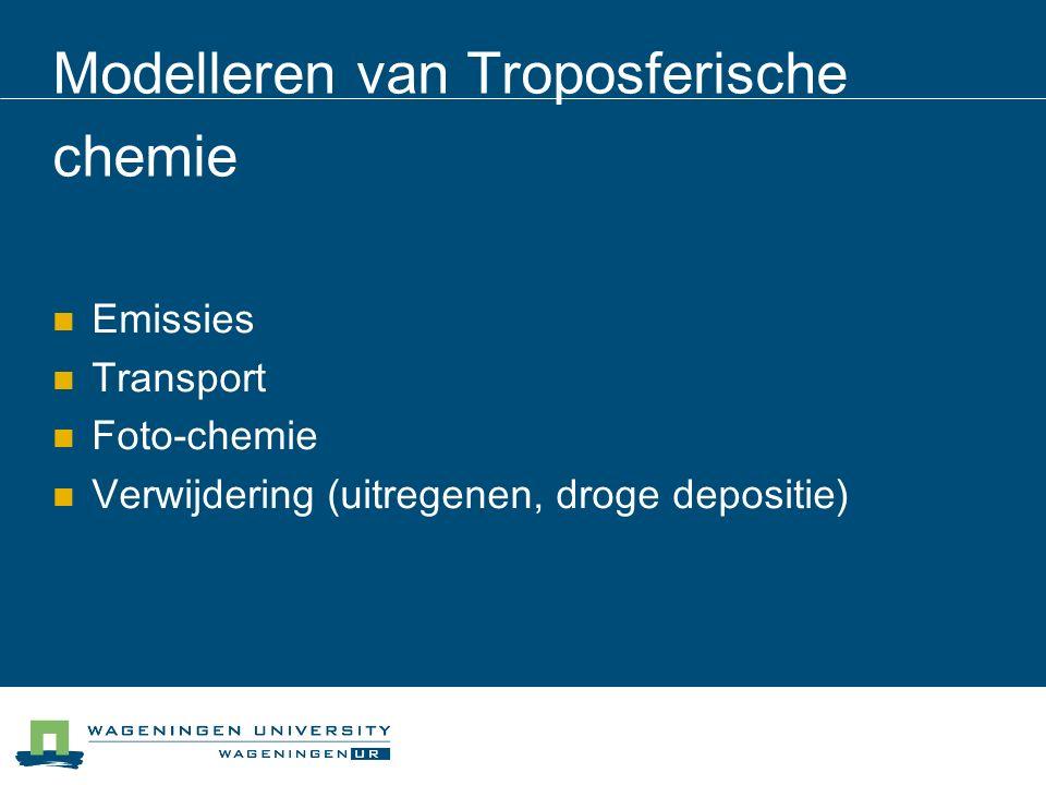 Modelleren van Troposferische chemie Emissies Transport Foto-chemie Verwijdering (uitregenen, droge depositie)