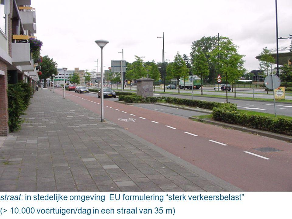 straat: in stedelijke omgeving EU formulering sterk verkeersbelast (> 10.000 voertuigen/dag in een straal van 35 m)