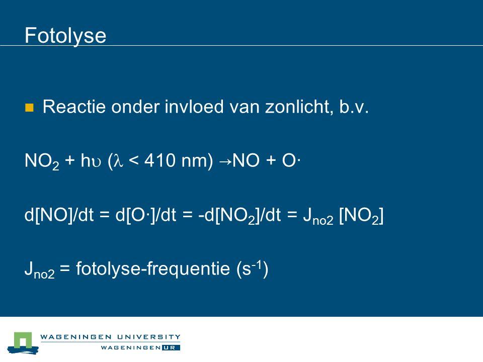 Fotolyse Reactie onder invloed van zonlicht, b.v.