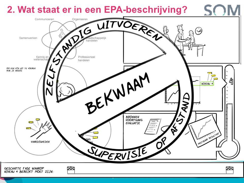 EPA's en competenties EPA 1EPA 2EPA 3EPA 4 Medisch handelen XX SamenwerkenXX OrganisatieX CommunicatieX Maatschappelijk handelen X ProfessionaliteitXXX Wetenschap