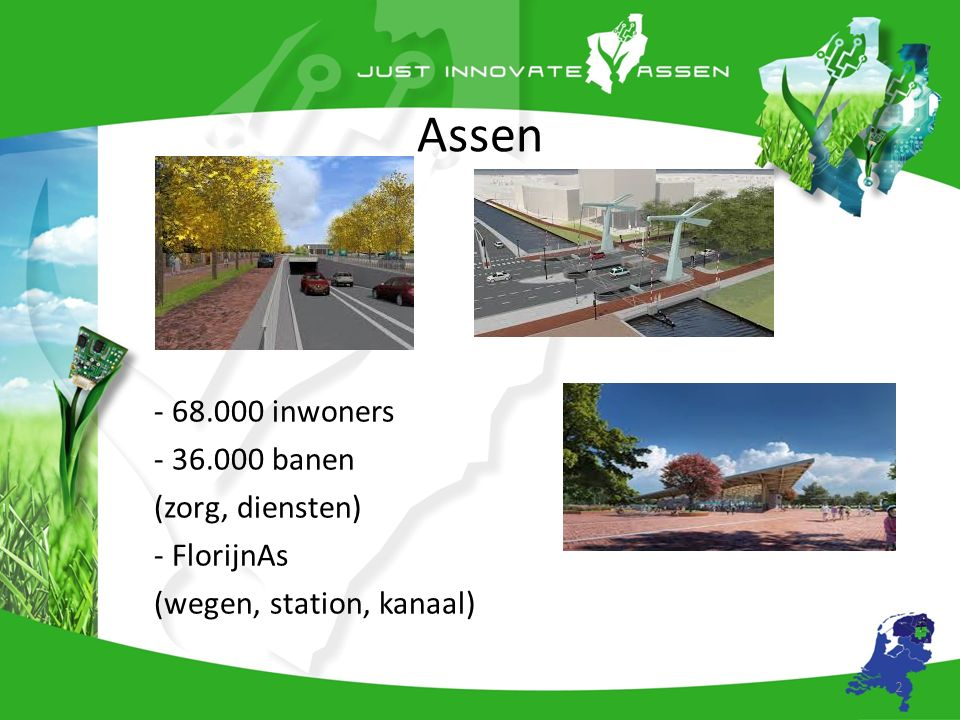 Living Lab Assen Thema: Sensortechnologie Cluster van kennisinstellingen, testfaciliteiten, overheid en andere partijen o.a.