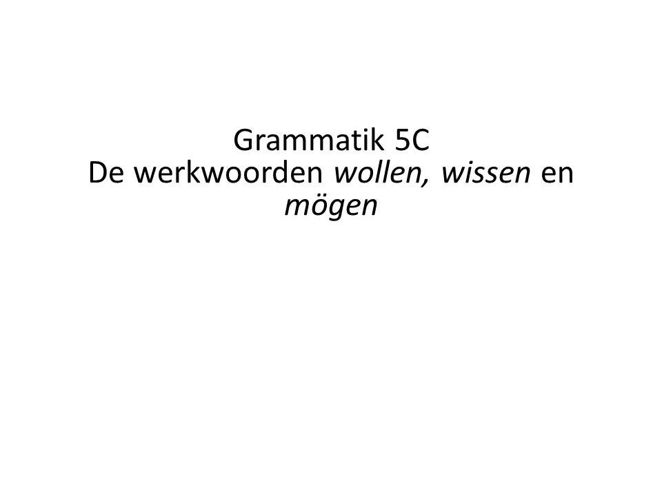 Grammatik 5C De werkwoorden wollen, wissen en mögen
