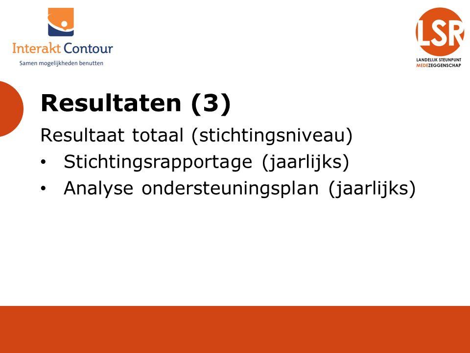 Resultaten (3) Resultaat totaal (stichtingsniveau) Stichtingsrapportage (jaarlijks) Analyse ondersteuningsplan (jaarlijks)