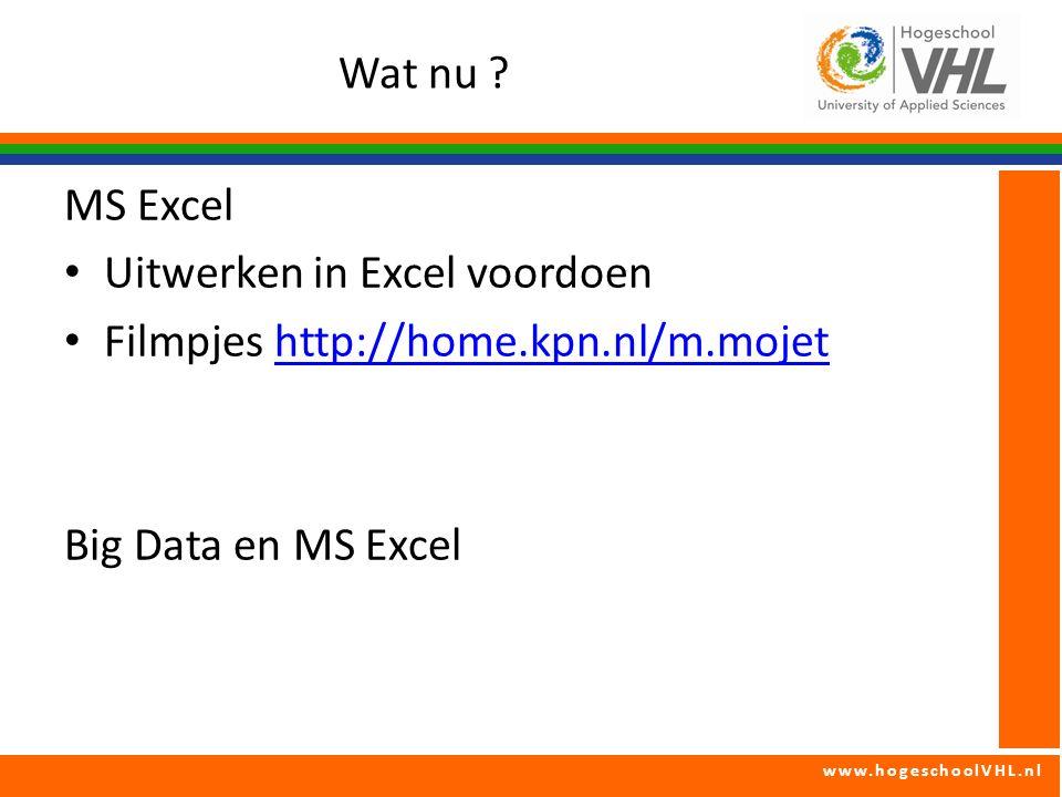 www.hogeschoolVHL.nl Wat nu ? MS Excel Uitwerken in Excel voordoen Filmpjes http://home.kpn.nl/m.mojethttp://home.kpn.nl/m.mojet Big Data en MS Excel