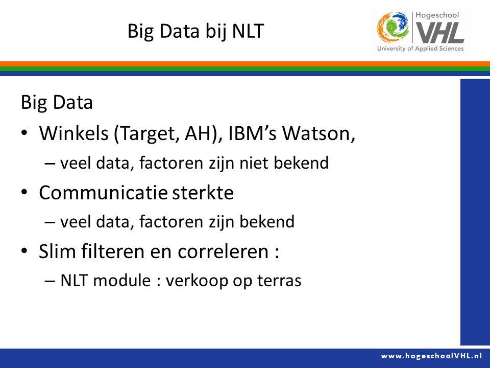 www.hogeschoolVHL.nl Big Data bij NLT Big Data Winkels (Target, AH), IBM's Watson, – veel data, factoren zijn niet bekend Communicatie sterkte – veel