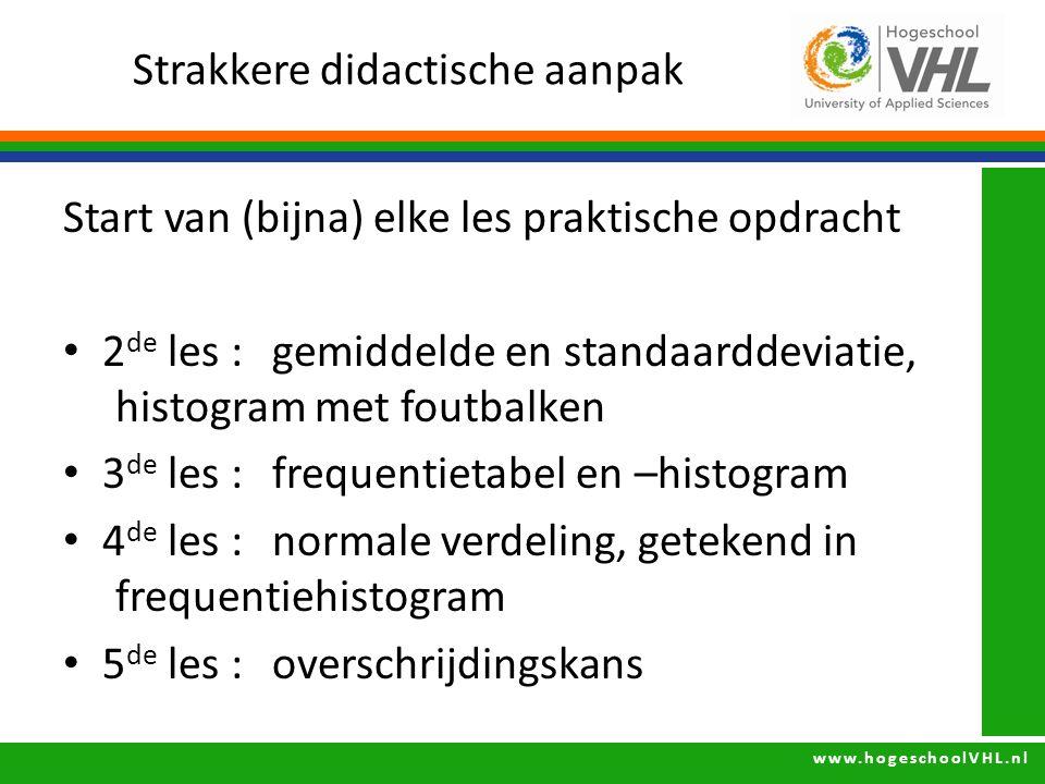 www.hogeschoolVHL.nl Strakkere didactische aanpak Start van (bijna) elke les praktische opdracht 2 de les : gemiddelde en standaarddeviatie, histogram
