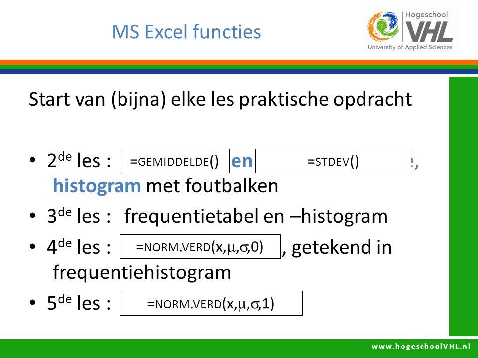 www.hogeschoolVHL.nl MS Excel functies Start van (bijna) elke les praktische opdracht 2 de les : gemiddelde en standaarddeviatie, histogram met foutba