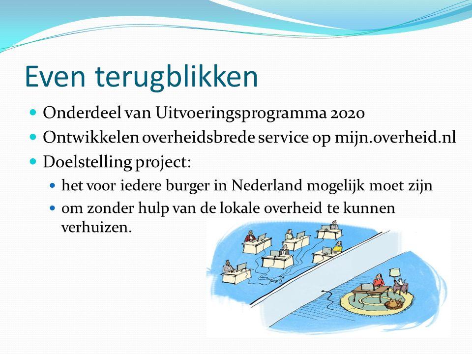 Even terugblikken Onderdeel van Uitvoeringsprogramma 2020 Ontwikkelen overheidsbrede service op mijn.overheid.nl Doelstelling project: het voor iedere burger in Nederland mogelijk moet zijn om zonder hulp van de lokale overheid te kunnen verhuizen.