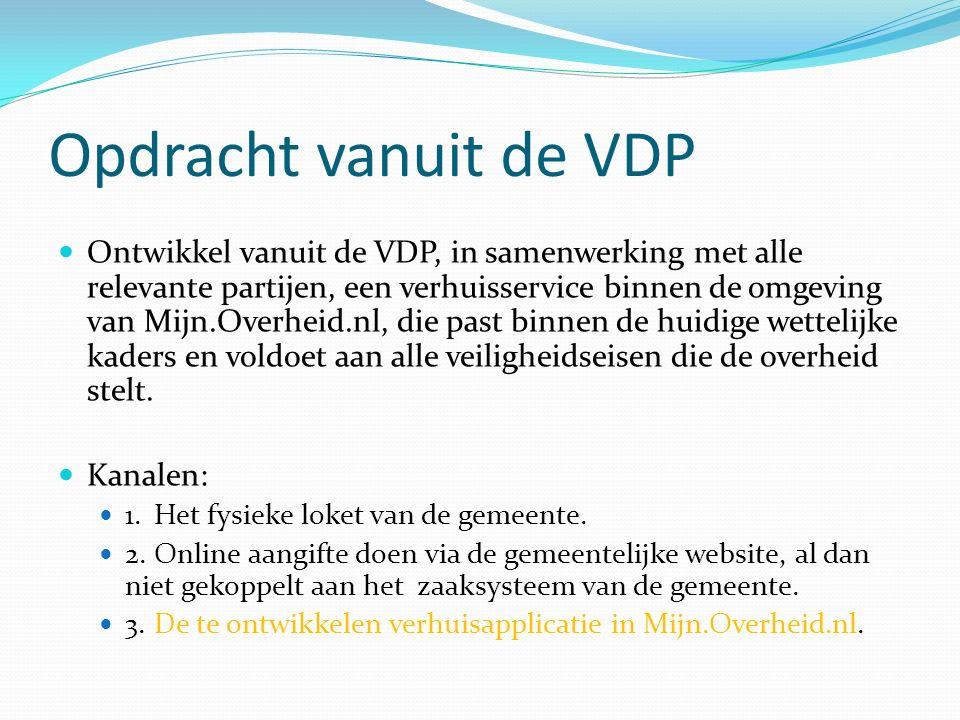 Opdracht vanuit de VDP Ontwikkel vanuit de VDP, in samenwerking met alle relevante partijen, een verhuisservice binnen de omgeving van Mijn.Overheid.nl, die past binnen de huidige wettelijke kaders en voldoet aan alle veiligheidseisen die de overheid stelt.